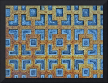 Blue & Gold Grunge Geometric Screen