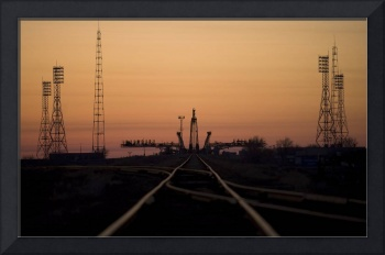 The Soyuz launch pad at the Baikonur Cosmodrome in