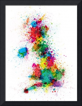 Great Britain UK Map Paint Splashes