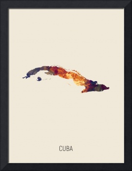 Cuba Watercolor Map