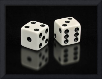 Lucky Seven White Dice on Black