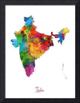 India Watercolor Map