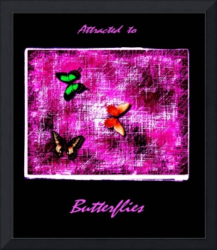 3 Butterdflies On Magenta Violet Abstract with fra