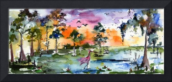 Wetland Landscape Spoonbill Panoramic Watercolor