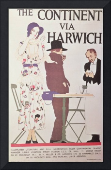 The Continent Via Harwich (poster) by Reginald Edw