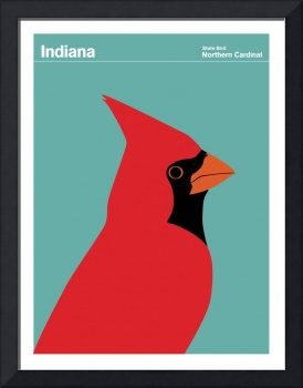 State Posters - Indiana State Bird: Northern Cardi
