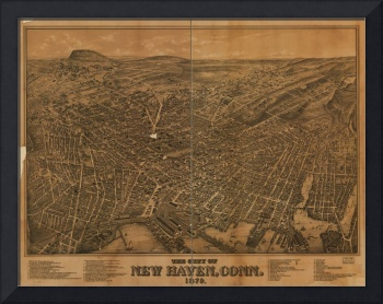 1879 New Haven, CT Bird's Eye View Panoramic Map