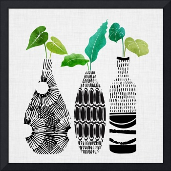 Black and White Tribal Vases