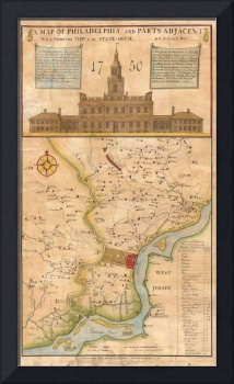 Vintage Map of Philadelphia Pennsylvania (1750)