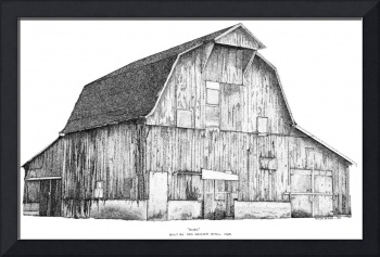 Pen and Ink Stippled Barn drawing