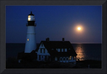 Moonrise over Portland Headlight