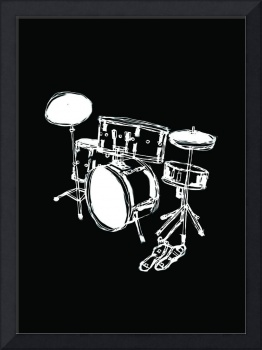 Drum Kit Rock Black White