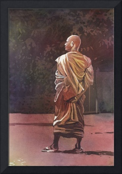 Watercolor painting of monk in Cambodia