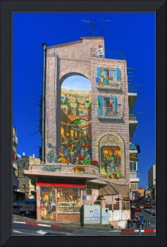 Apartment building mural in Jerusalem