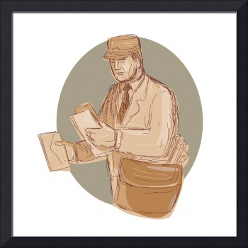 Vintage Postman Delivering Letter Drawing
