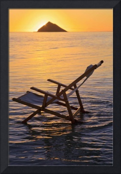 Hawaii, Lanikai, Empty Beach Chair At Sunset