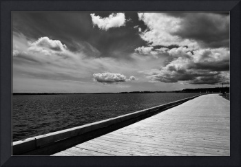 Charlottetown PEI Boardwalk in Black and White
