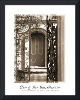 Charleston Door & Iron Gate in Sepia