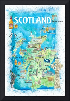 Scotland Illustrated Map with Landmarks and Highli