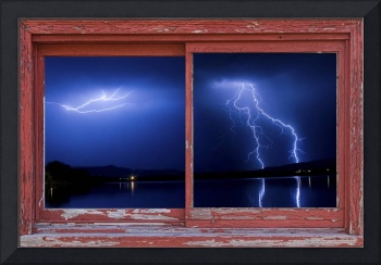 August Storm Red Barn Picture Window Frame  Photo