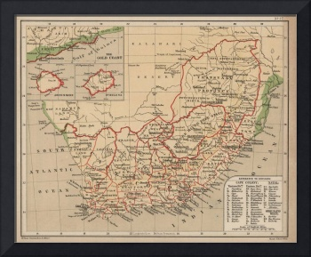 Vintage Map of South Africa (1880)