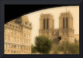 Notre Dame Cathedral Viewed From The Seine River,