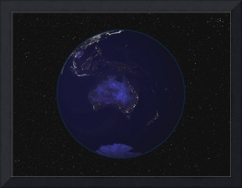 Earth showing city lights of Australia and Oceania