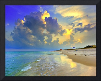 Yellow Blue Seascape Sunset Florida Beach Fine Art