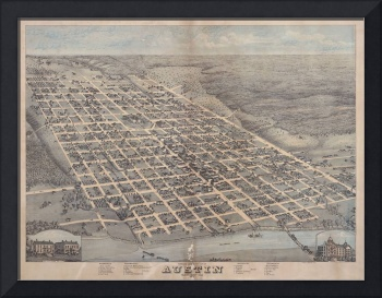 Vintage Pictorial Map of Austin Texas (1873)
