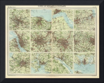 Vintage Map of Cities of England & Scotland (1922)