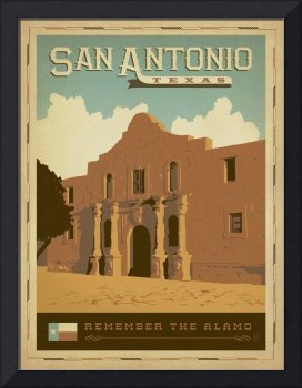 San Antonio, Texas - Retro Travel Poster