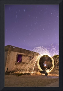 Star trails and light painting with fire