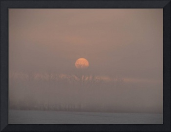 December foggy sunrise