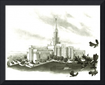 Bountiful Utah Temple in sepia / LDS / Mormon