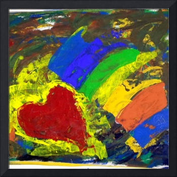 Oil painting of hearts and many colors