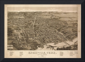 Vintage Map of Knoxville Tennessee (1886)