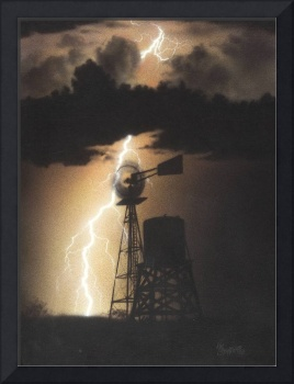 Windmill Lightning at Night