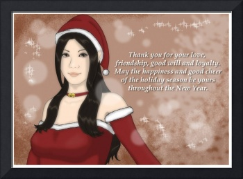 Christmas Girl Greeting Card - Dark Hair