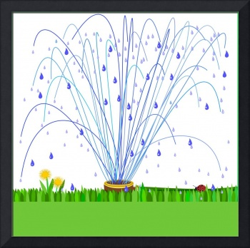 Sprinkler and grass