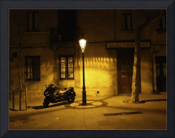 Motorcycle by Lamplight in Barcelona - Spain