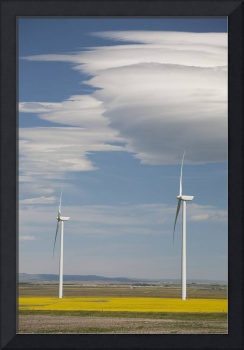 Dramatic Clouds With Blue Sky And Windmills Alber