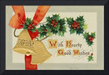 Vintage Golden Christmas Bells and Holly