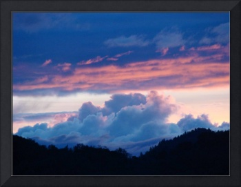 OFFICE ART Collection Sunsets Blue Clouds Pink Sky