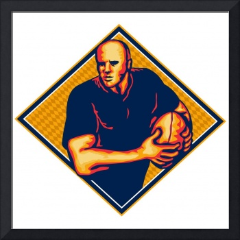 Rugby Player Running Ball Retro