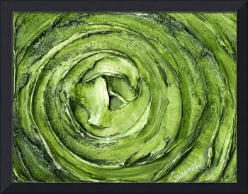 Green Silver Abstract Art