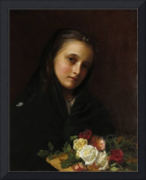 Girl with Flowers by William Gilbert Gaul (1855-19