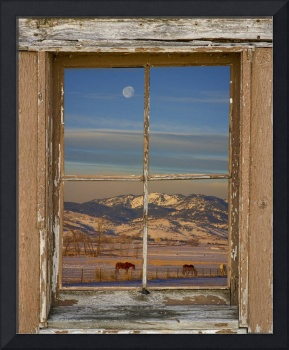Horses and Moon Rustic Farm Window View