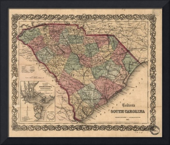 Vintage Map of South Carolina (1865)