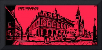 Jackson Square New Orleans in Red