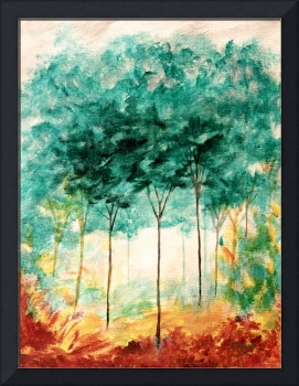 Abstract Landscape Art Trees Painting Skinny Trees